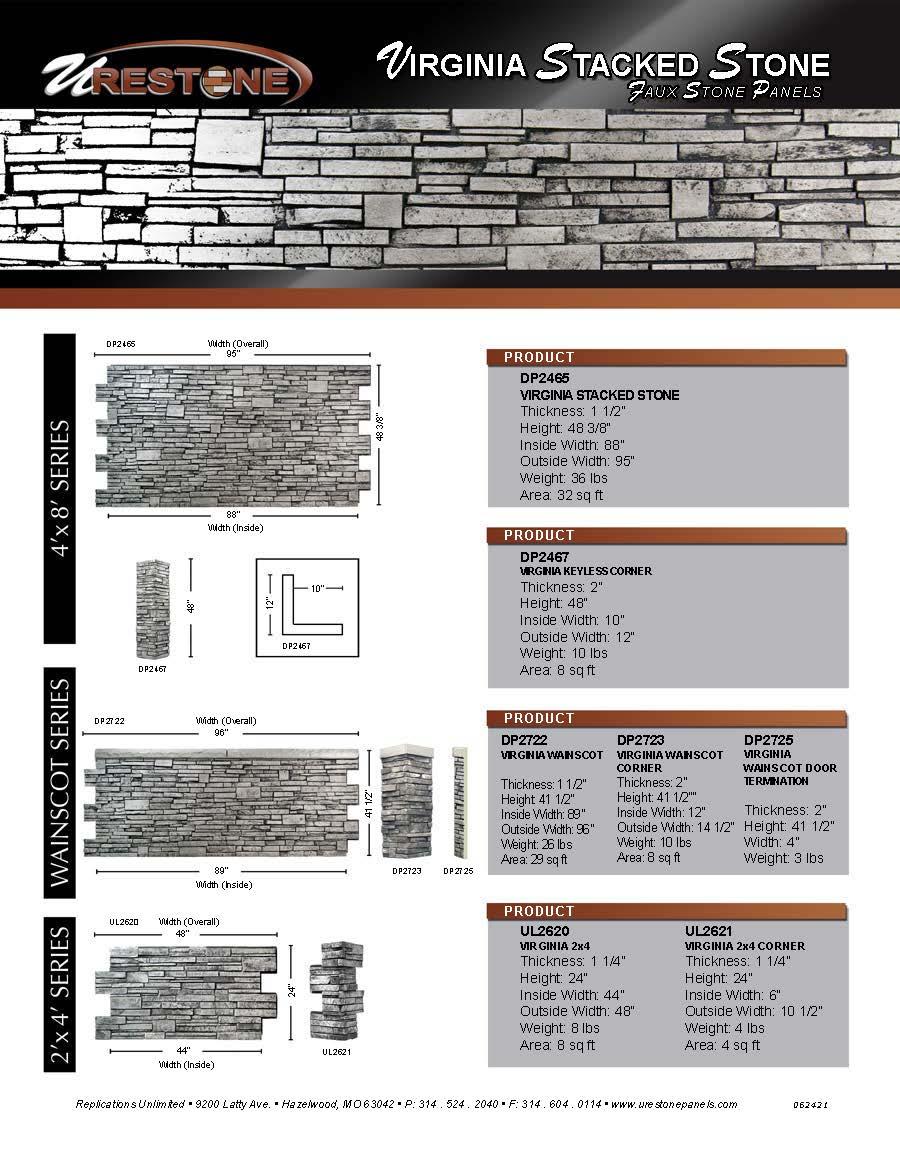 Virginia Stacked Stone Data Sheet