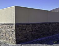 Ledgestone and Stucco Dumpster Enclosure